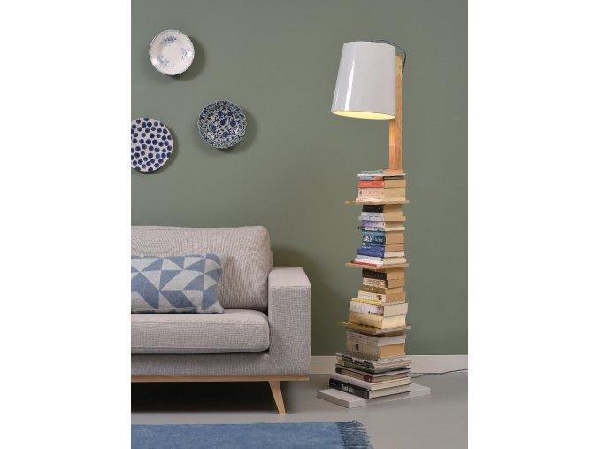 Stojací lampa Cambridge bílá/dřevo s poličkami 2