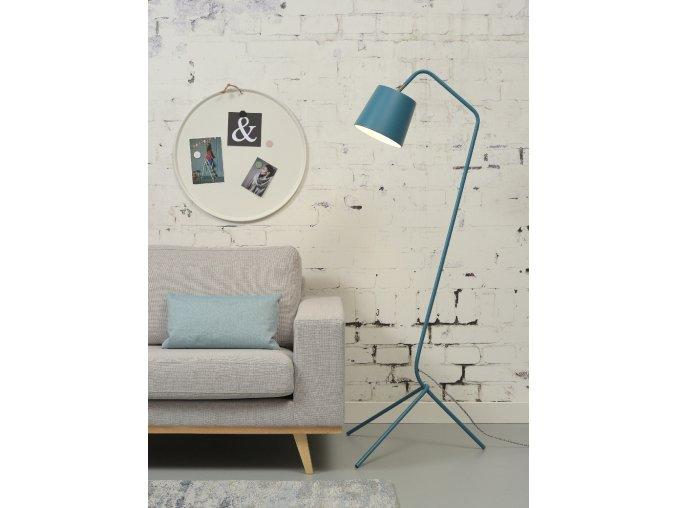 Stojací lampa Barcelona modrozelená