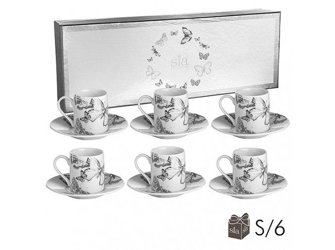 Kávové hrnečky Butterfly -sada 6ks
