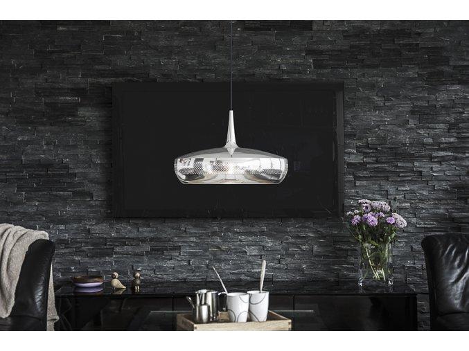 2097 Clava Dine polished steel black cord sofa environment