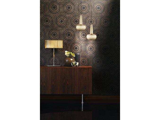 2052 Clava brushed brass black cord wallpattern environment