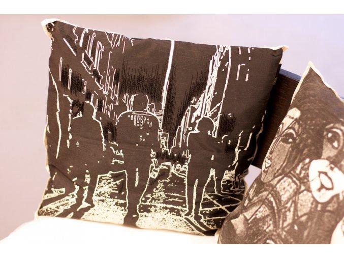 Polštář Raga Streetview 45x45 černobílý