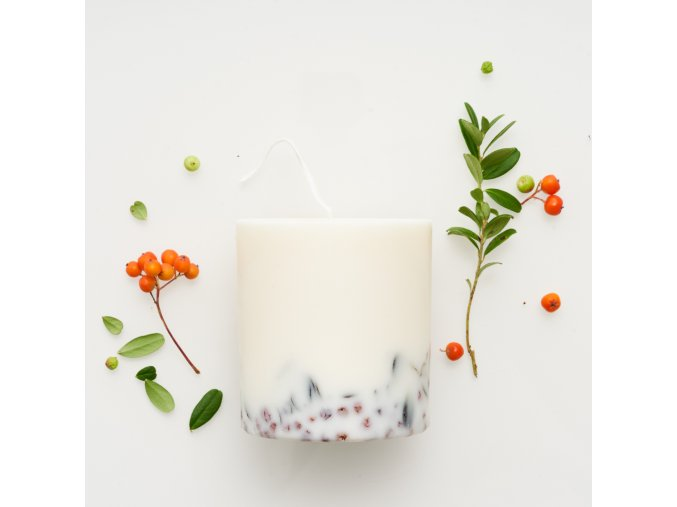 Ashberies&bilberry leaves candle