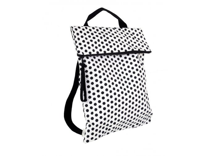 628 batoh taska flatpack bila s cernymi puntiky