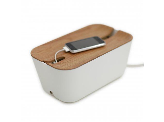 Úložný box na nabíječky světlé dřevo