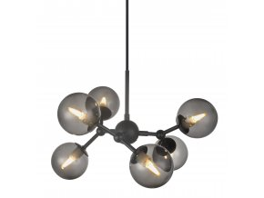 Stropní lampa Atom 6L černá, kouřová