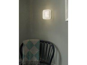 Stropní/nástěnná čtvercová lampa Glitter čirá, bílá
