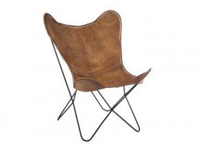 Hnědé kožené křeslo Lounge Chair