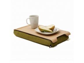 Mini protiskluzová dřevěná podložka Bosign Natural wood & Olive Green