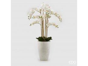 Bílá umělá orchidej Phalaenopsis v květináči 125cm