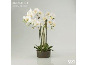 Dekorativní uměla bílá orchidej Phalaenopsis s květináčem 72 cm