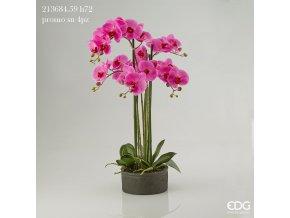 Růžová umělá orchidej Phalaenopsis v květináči 72cm