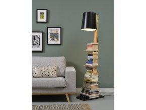 Stojací lampa Cambridge černá/dřevo s poličkami 5