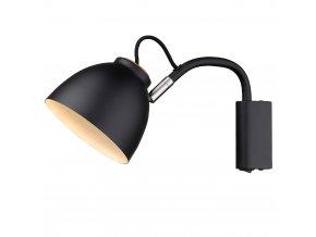 Nástěnná lampa Nivå černá/přírodní