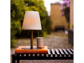 Stolní/zahradní lampa Northern opálová/dřevo