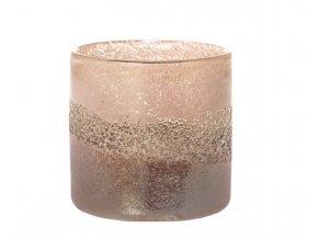 Růžový skleněný svícen