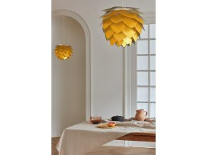 Lustr stojací lampa Aluvia šafránově žlutá 12