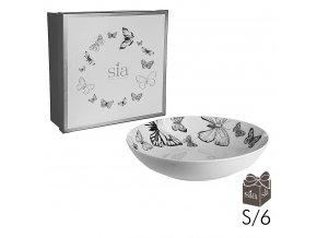 Hluboké talíře Butterfly -sada 6ks