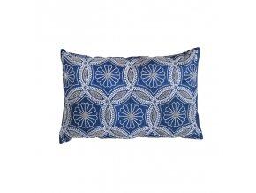 Polštář vyšívaný 50x30 modrobílý  modrý polštář Sia, vyřívaný polštář Sia, polštář korálky