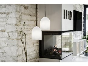 2045 Ripples curve white black cord fireplace environment