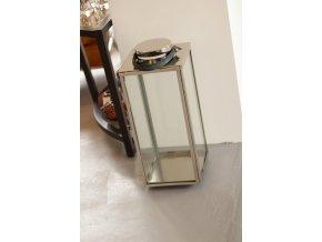 Stříbrná kovová lucerna na svíčky 70cm