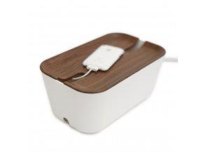 Úložný box na nabíječky tmavé dřevo
