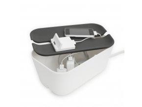 Úložný box na nabíječky šedý