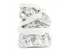 Laminovaný papírový sáček Uashmama stříbrný/bílý (Velikost XL)