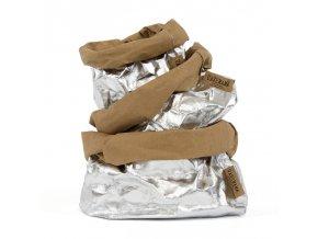 Laminovaný papírový sáček Uashmama stříbrný/hnědý (Velikost XL)