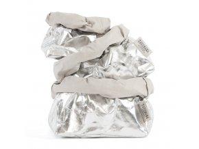 Laminovaný papírový sáček Uashmama stříbrný/šedý (Velikost XL)