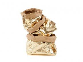 Laminovaný papírový sáček Uashmama zlatý/hnědý (Velikost XL)