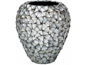 21955 Muschel Pflanzgefaess Perlmutt silber blau