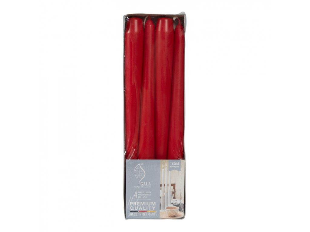 svicky cervene se stearinem 4 ks 25 cm