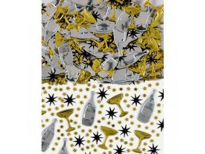 konfety na stul hvezdy lahev sekt