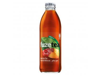 FuzeTea Black a ibišek Ice Tea broskev sklo 0,25l