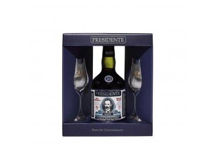 Rum Presidente 23y v dárkovém balení se 2 skleničkami