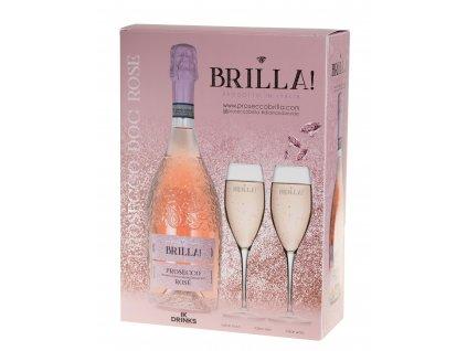Brilla Rose Extra Dry 0,75l dárkové balení se 2 skleničkami