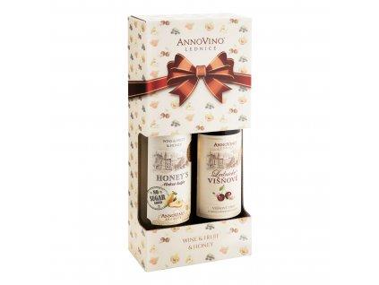 Dárkové balení Honeys medová hruška a višňové víno Viařství Lednice Annovino 0,75l