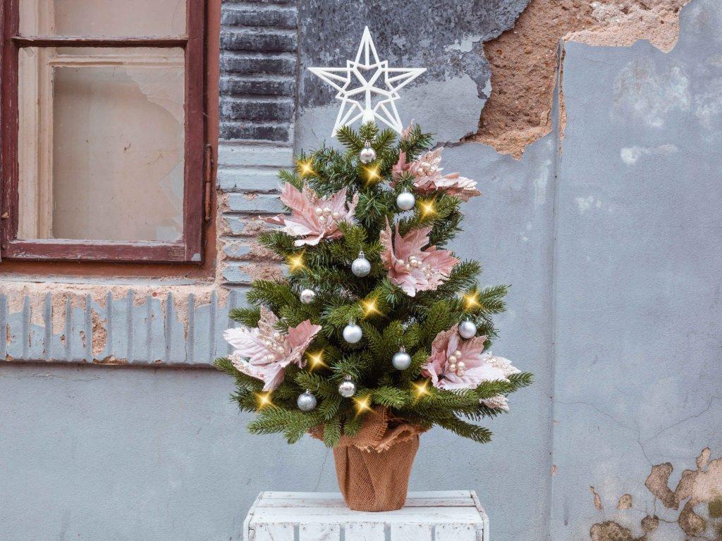 Vánoční stromek ozdobený JEMNÉ TŘPYTKY 75 cm