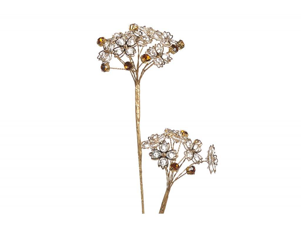 Luxusní zlatá kytka s květy z kamínků 51 cm