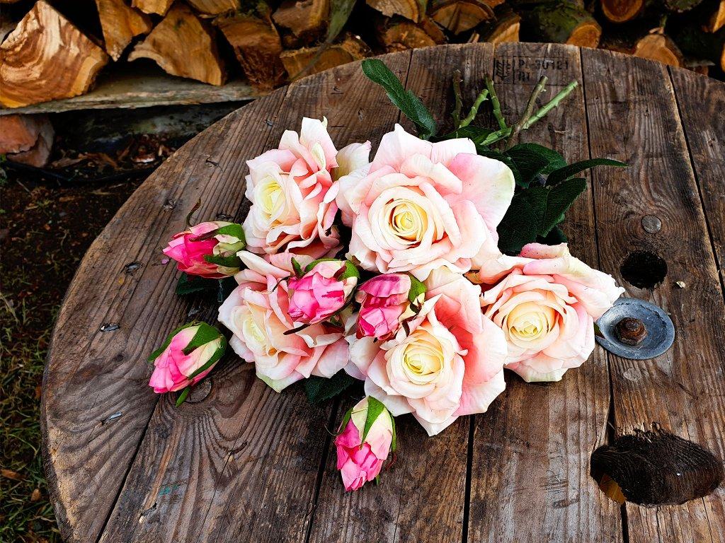 Květiny růže s poupátky