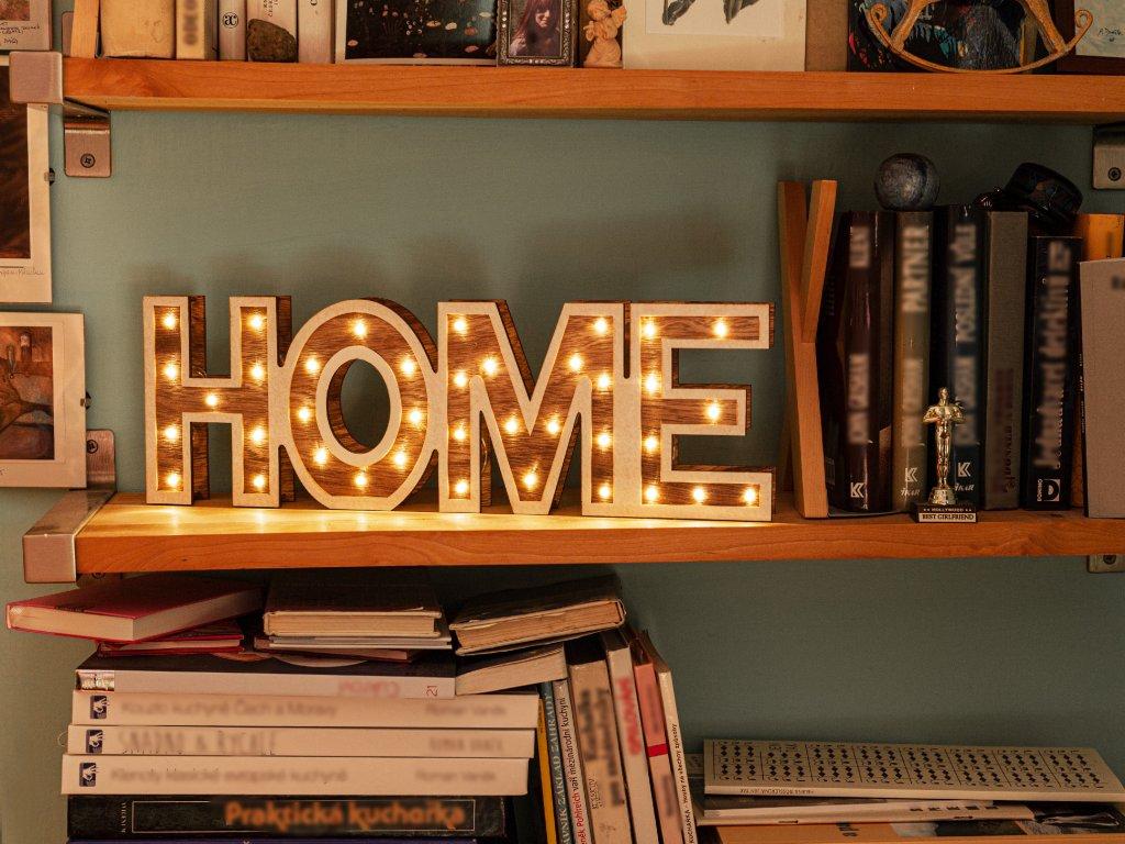 Nápis svítící HOME 45 cm