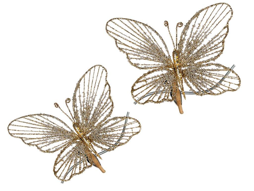 Motýli na klipu 2 ks x 18 cm