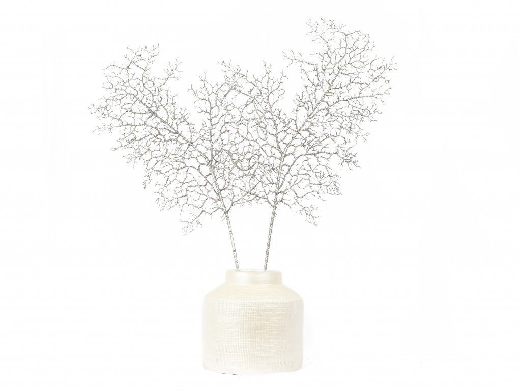 Sada dekorací: Váza se stříbrnými listy 2 ks