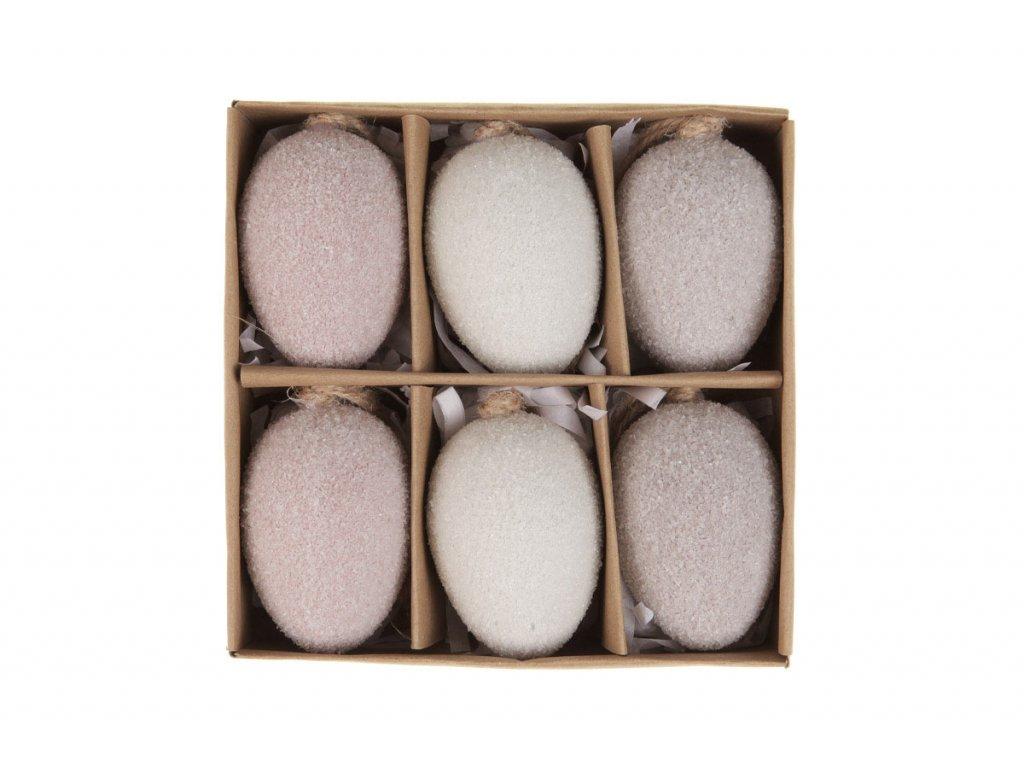 Sada 24 ks dekorací: Vajíčka plastová bílo-hnědá 4 x 6 cm