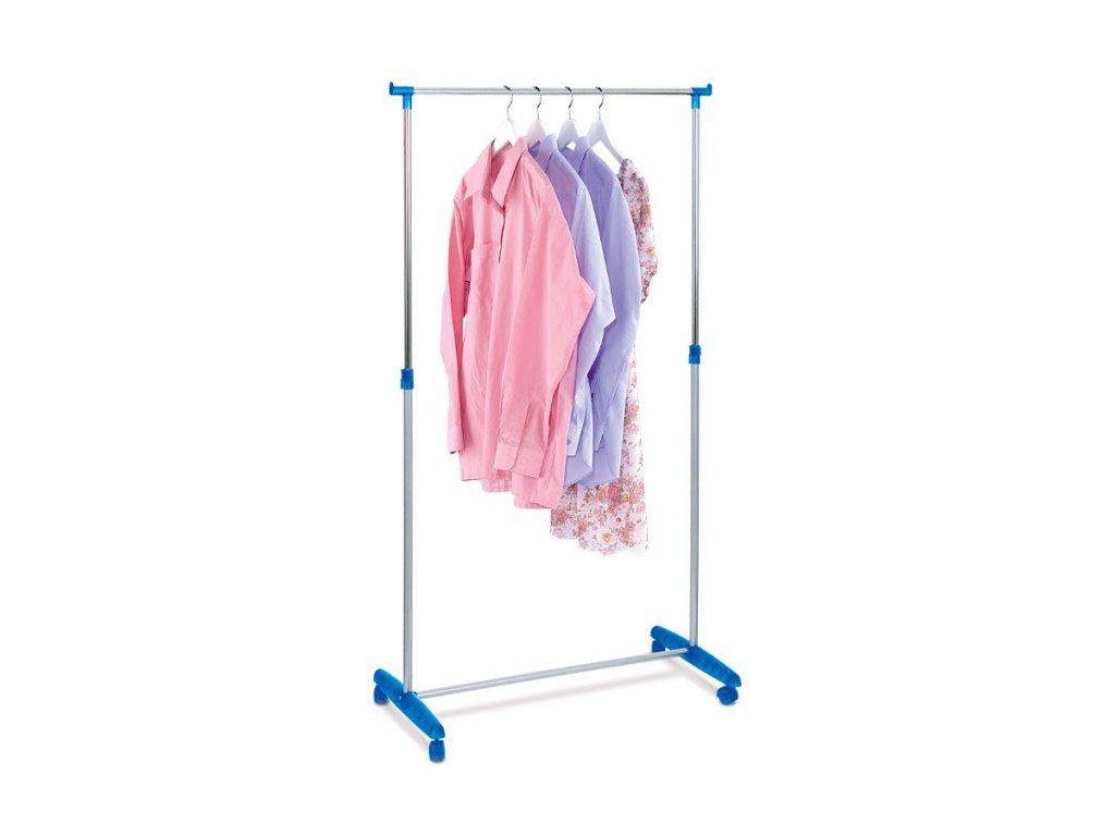 Stojan na šaty modrý / chrom 90 x 100 - 175 x 43 cm