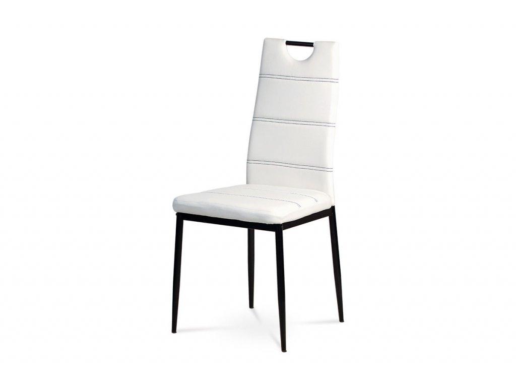 Jídelní židle bílá ekokůže / kov
