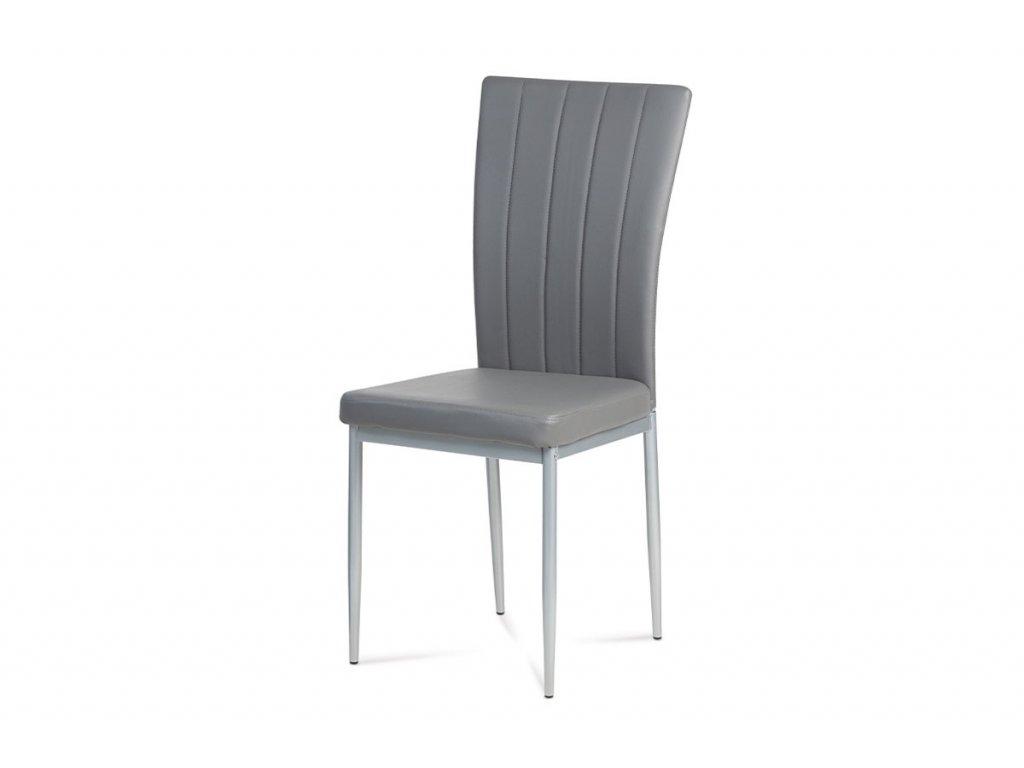 Jídelní židle šedá koženka / kov