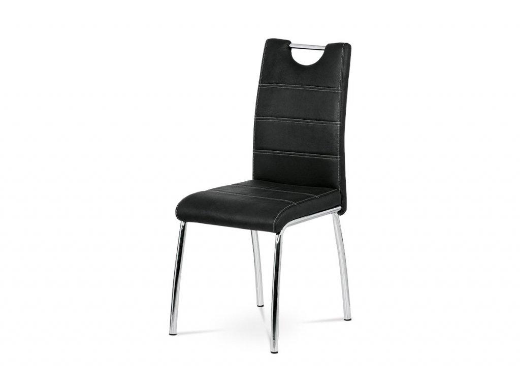 Jídelní židle černá ekokůže / chrom