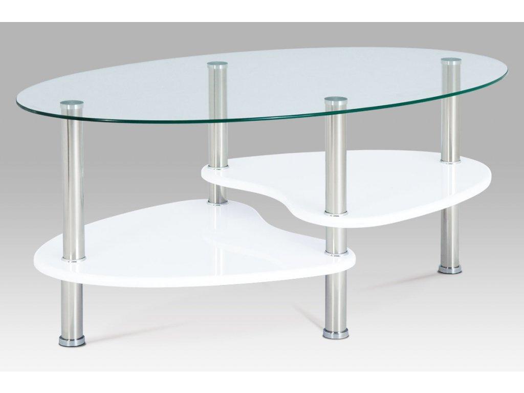 Konferenční stolek bílý se sklem 42 cm